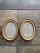 Lovely Pair Oval Gold Coloured Frame Picture Photo Wall Hanging