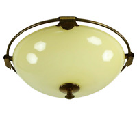 Art Deco Decken Leuchte Glas & Messing Kuppel Lampe Vintage 30er 40er Jahre