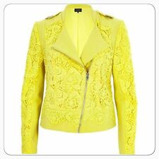 BNWT River Island Yellow Lace Biker Evening Occasion Day Jacket Size 10 NEW