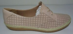 Clarks Size 9 M DANELLY MILLIE Pink Leather Jute Lace Loafers New Womens Shoes