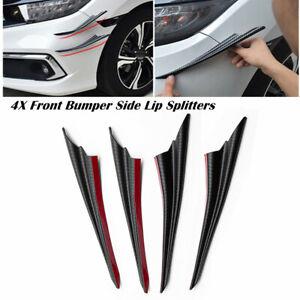 4X Front Bumper Side Lip Splitters Spoiler Winglet Blade Decoration Spat Black