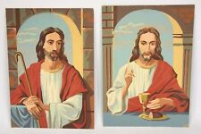 "2 Vintage 1959 mid century JESUS Paint by Numbers PBN completed 10""x14"" 2 sided"