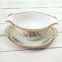 Vintage Gravy Boat with Attached Underplate Roslyn Floral by Diamond China Japan