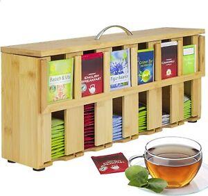 ONVAYA® Teebox aus Holz | Teekiste mit 6 Fächern | für ca. 200 Teebeutel