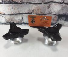 "Harley Gas Caps Set ""Custom Made"" Alumunim With Black Spinners New![2]"