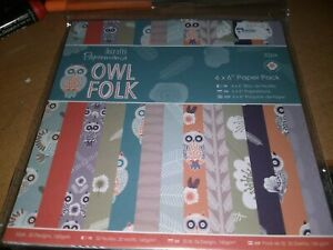 PAPERBLOCK OWL FOLK /32 SHEETS/6X6 INCH/1 SIDE/ NEW