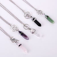 Gemstone Hexagonal Prism Quartz Crystal Healing Point Pendant Fit Necklace Gift
