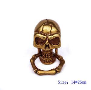 10X Antique Brass Skull Bone KeyRing Wallet Chain Connector Leathercraft Conchos