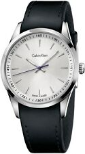 K5A311C6 Calvin Klein Bold Men's Watch Silver Dial Black Leather Strap NEW 41mm