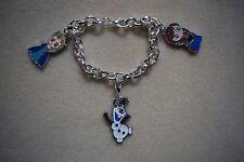 Charm Bracelet Frozen Disney Elsa Anna Olaf Kitsch Silver Plated