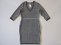 NWT H&M Black & White Contrast Striped Jacquard Knit V-Neck Stretch Dress L
