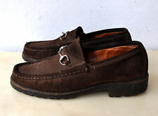 GUCCI Horsebit Suede Leather Moccasin Loafer Shoes Sz 39 Italy Authentic RRP$800