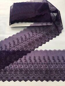 6 Inch Plum /Aubergine Wedding Type Lace . Organza Mix Beautiful Qaulity & Desig
