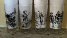 4 American History Scenes Barware Highball Tumblers Black on Clear