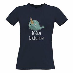 Cute Narwhal Womens TShirt It's Okay To Be Different Slogan Ocean Cartoon Sea