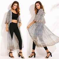 Women Summer Beach Bikini Cover Up Chiffon Kimono Cardigan Jacket Coat Tops Plus