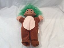 "Troll Doll 12"" Russ Plush Soft Body Christmas Red Nose Reindeer Green Hair 12"""