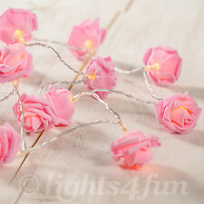 20 Warm White LEDs Pink Rose Flower Battery Operated Bedroom Fairy String Lights