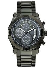 Guess U0036G1 Unique Boldly Detailed Gun Metal Sport Dial Chronograph Watch Gift