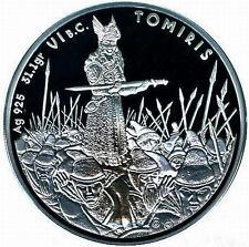Kazakhstan 2010 Queen Tomiris 100 Tenge Gold Plated Silver Coin,Proof