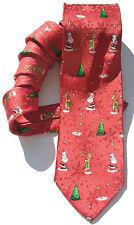 John Ashford NEW Red Christmas Santa Reindeer Men's Neck Tie Silk $49 X78