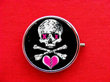 SKULL CROSSBONES HEART ROUND METAL PILL MINT BOX CASE