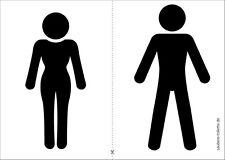 3x Klomännchen Aufkleber Toiletten-Piktogramm, Männer-WC, Frauen-WC / Klo