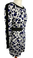 Warehouse Size 14 White Black Blue Floral Dress Long Sleeve Winter Casual Party