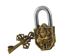 Goddess Saraswati Antique Vintage Style Lock Handmade Brass Padlock & Keys Gift