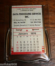 1976 DATA PROCESSING SERVICES HILO BIG ISLAND ADVERTISING CALENDAR MIRROR HAWAII