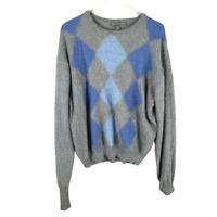 Saks Fifth Avenue Men Sweater Size XL Blue Cashmere Argyle Crew Neck Long Sleeve