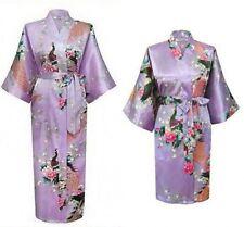 Satin/Silk Short/long Wedding Bride Bridesmaid Robe Women Floral Bathrobe Kimono