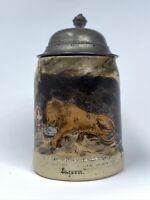 Antique Miniature Beer Stein Tankard Lion Of Lucerne Luzern Switzerland 19th C.