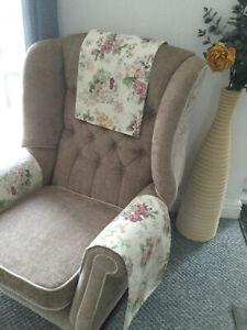Chair Back Arm Cover Slip Cap Antimacassar Sofa Armchair M & S COTTAGE PLUM MIX