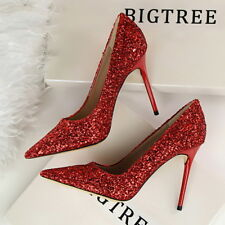 Sexy Women Party Shoes Stiletto Pointed-toe High Heels Bling Pumps Wedding Shoes