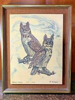 Rare Eugene Andreyev Etching of John James Audubon's Great Horned Owl Portrait