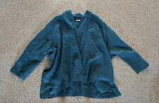 ESKANDAR Dark Teal 100% Linen Mid Weight Oversized Button Cardigan Jacket SZ 1