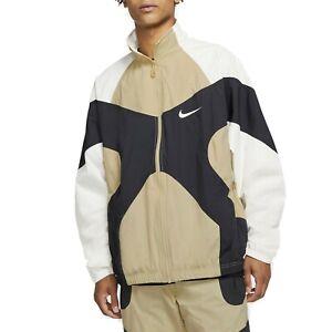 Nike Sportswear Throwback Woven Jacket Beige/Black Size XL BV5210-783