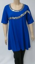 DUTCH DESIGNER YOEK ,SMALL ROYAL BLUE TUNIC WITH SEQUINED  EMBELLISHMENTS.