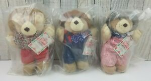 """Vintage Wendy's Furskins 7"""" Bears, Lot of 3, 1986, NEW With Tags in Bags"""