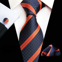 Tie Pocket Square Cufflinks Navy Blue Orange Stripe Set 100% Silk Wedding