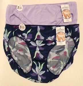 NWT 2 Jockey No Panty Line Promise Bikini Panties 1370 Purple/Floral Blue Size 9