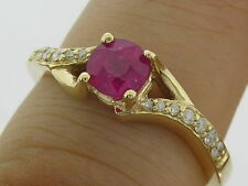 R213- Genuine 9ct Yellow Gold Natural Ruby & Diamond Engagement Ring size N