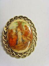 vintage gold tone metal renaissance romance scene large brooch 53 x 43 mm 48057