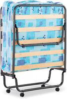 "Folding Rollaway Guest Bed With 4"" Foam Mattress Cot 4-Caster Wheels Steel Frame"