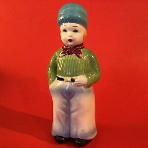 "YOKO BOEKI DUTCH BOY SUGAR SHAKER VINTAGE PORCELAIN 8"" JAPAN HAND DECORATED"