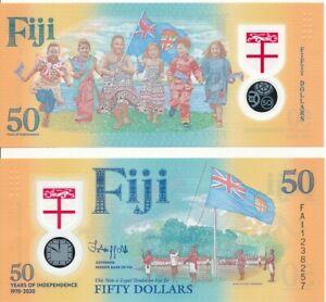 Fiji _ 50 Dollars 2020 UNC Polymer Lemberg-Zp