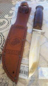 VINTAGE SCHRADE  WALDEN NY. USA . H-15 FIX BLADE WITH LEATHER