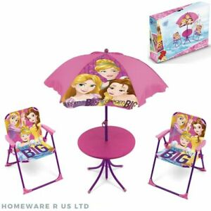 girls childrens kids pink princess garden patio table & 2 chairs set parasol 3+