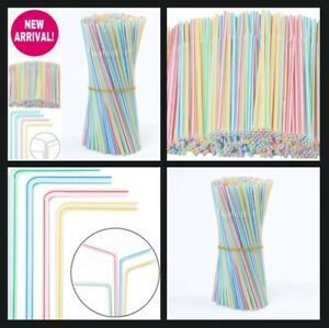 500 300 200 100 Stripes Plastic Straws Drinking Flexible Bendy Coloured Party pp